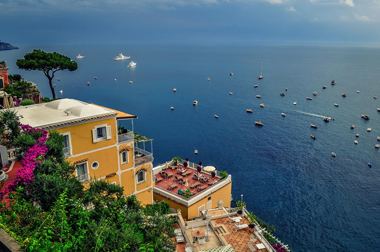 Wallpaper Nature Italy Sea Amalfi Coast Houses Building