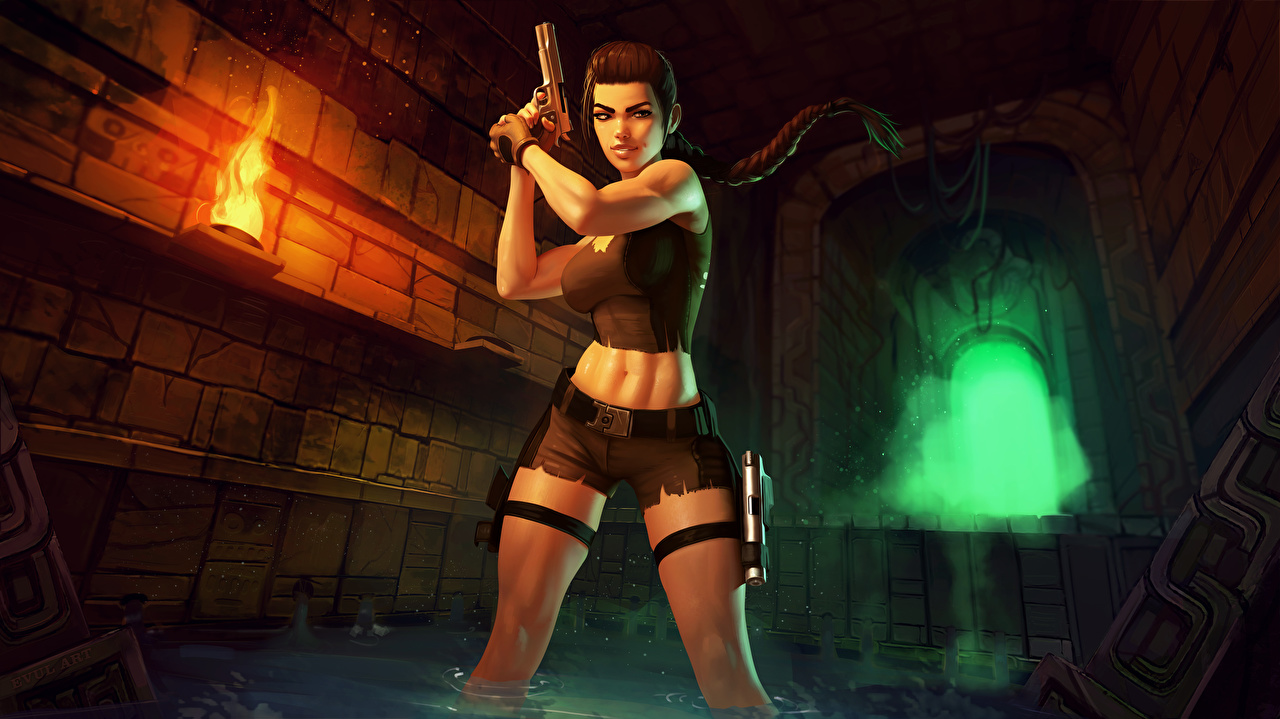 Desktop Wallpapers Pistols Lara Croft Girls Legs flame vdeo game Shorts pistol female young woman Fire Games