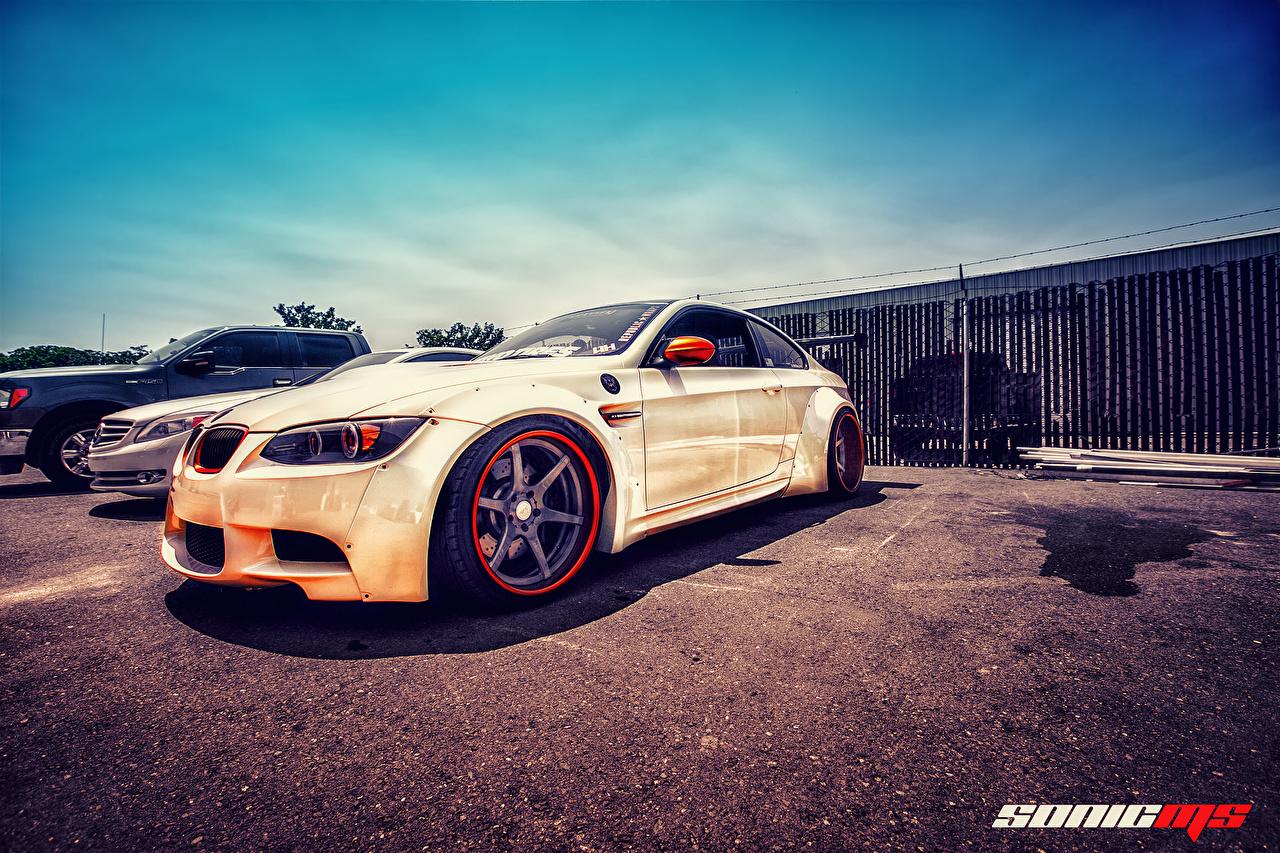 Pictures BMW E92 M3 HDRI White Cars Asphalt HDR auto automobile