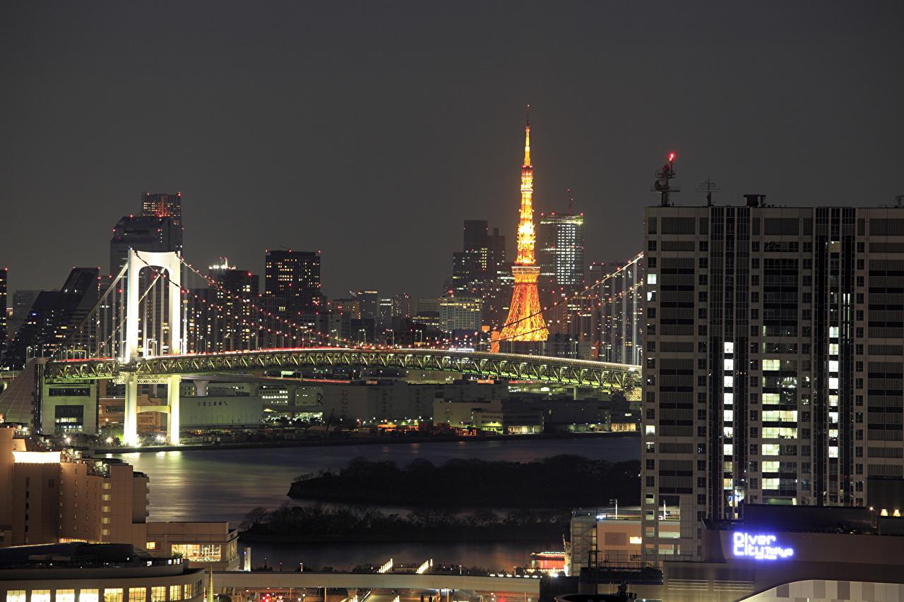 Achtergronden bureaublad Tokio Japan Odaiba brug Nacht gebouw een stad Bruggen Huizen Steden gebouwen