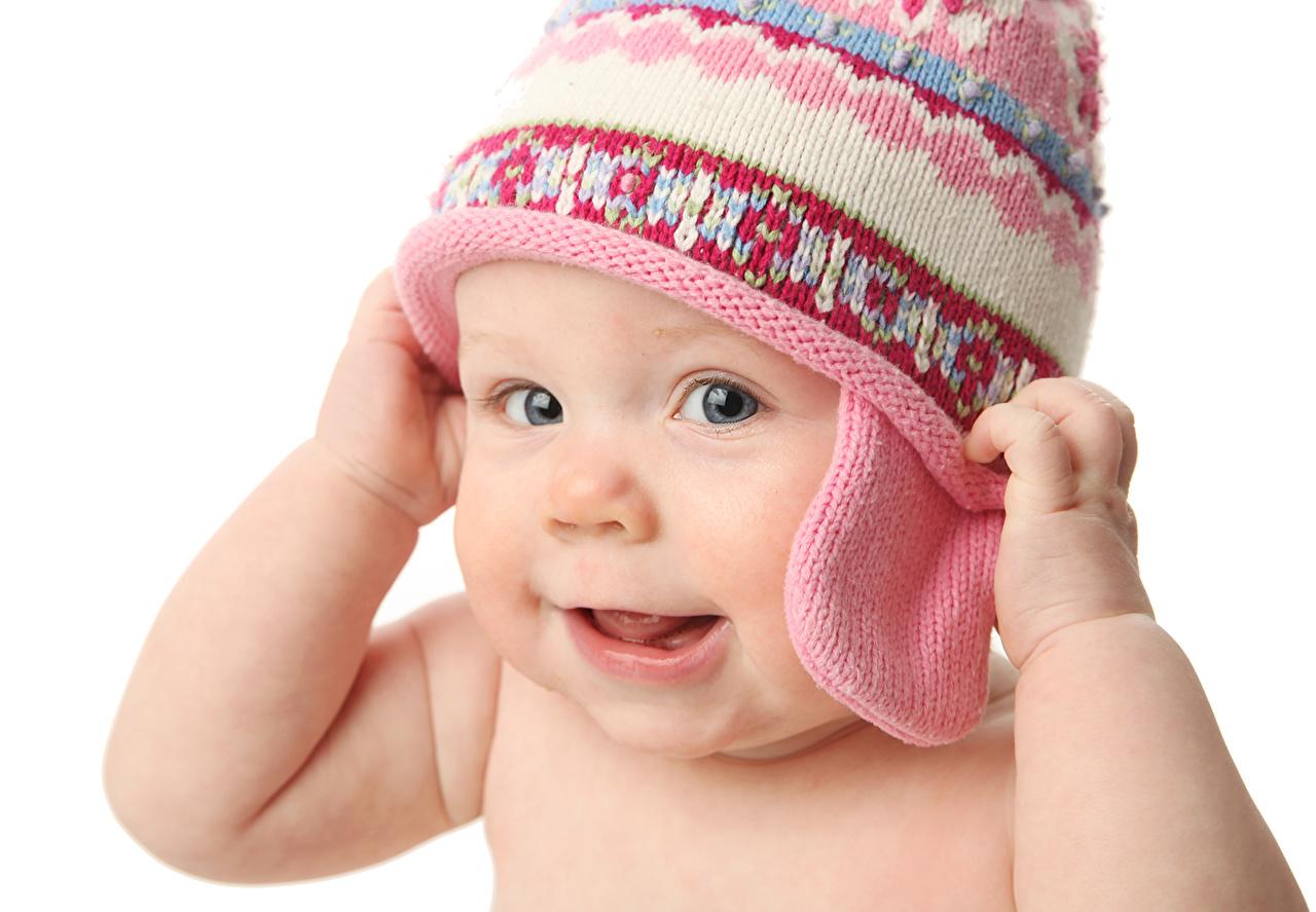 Picture Infants Smile child Face Winter hat Glance Baby newborn Children Staring
