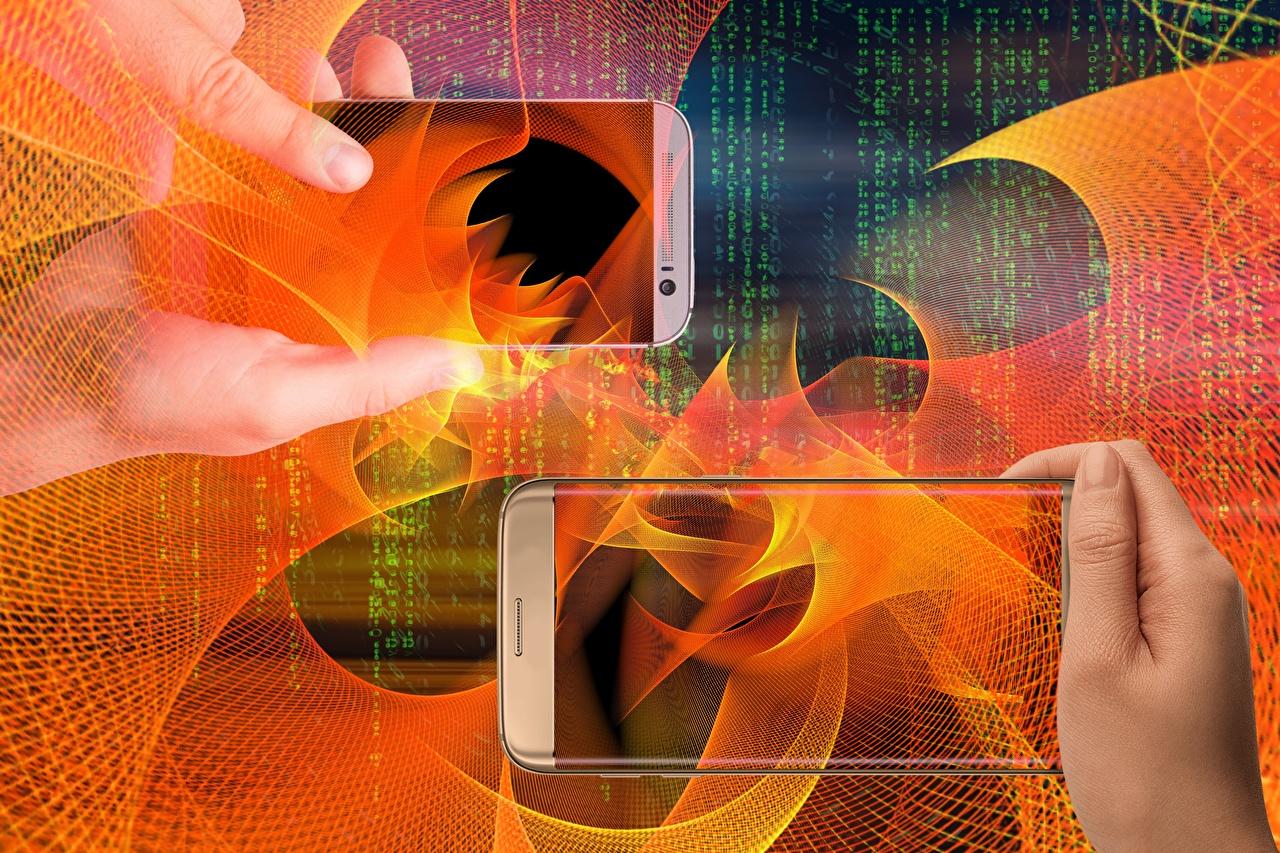 Photo smartphones Abstract art Hands Smartphone Abstraction