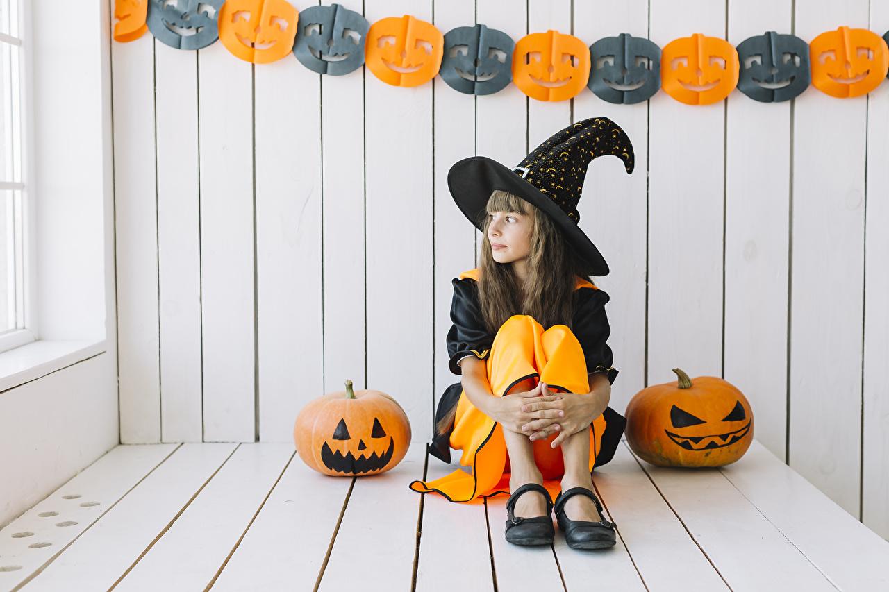 ,万圣夜,南瓜,女巫,小女孩,坐,制服,帽子,儿童,