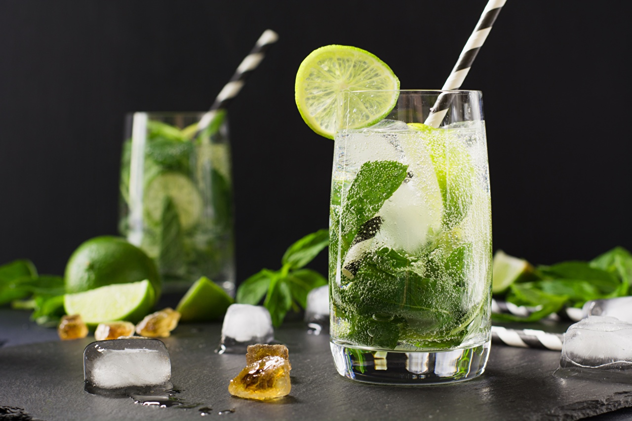 Desktop Wallpapers Ice Lime Mojito Mentha Highball glass Food mint
