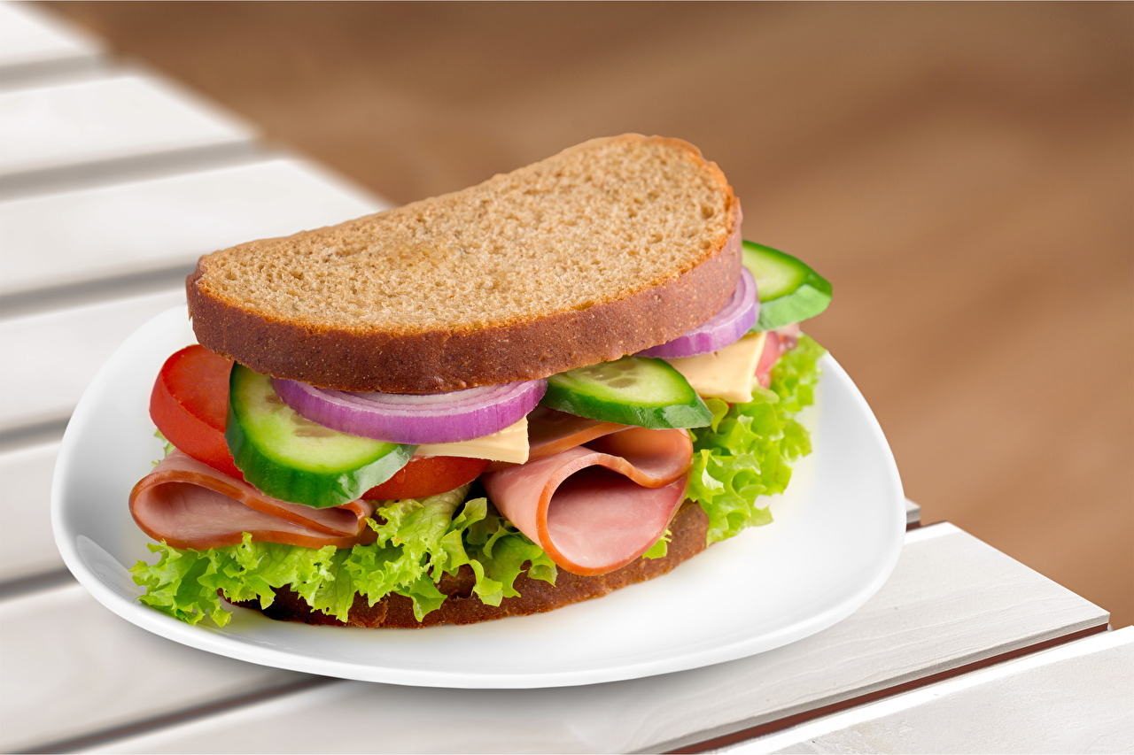 Pictures Sandwich Ham Bread Food Plate Vegetables