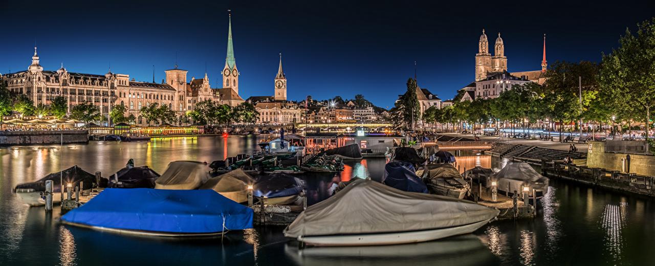 Photo Cities Zurich Switzerland bridge Boats Panorama Houses Waterfront Bridges panoramic Building