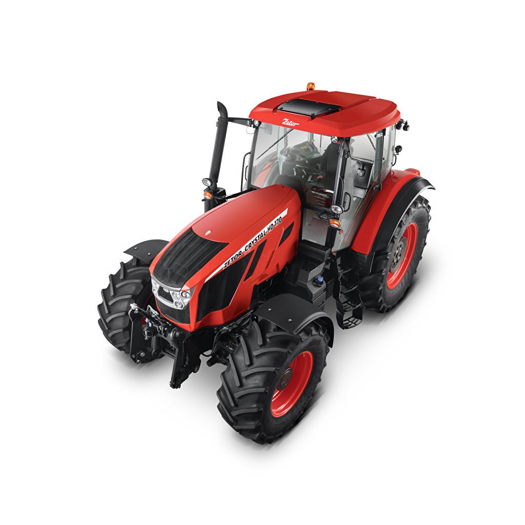 Bilder von traktoren Zetor Crystal HD 170, 2018 Rot Von oben Weißer hintergrund Traktor