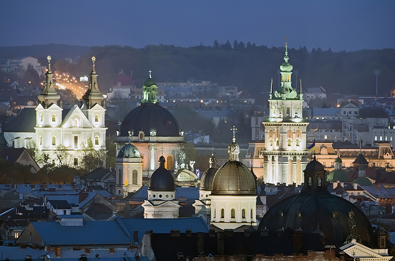 Photo Lviv Ukraine domes Night Temples Cities Building Dome temple night time Houses