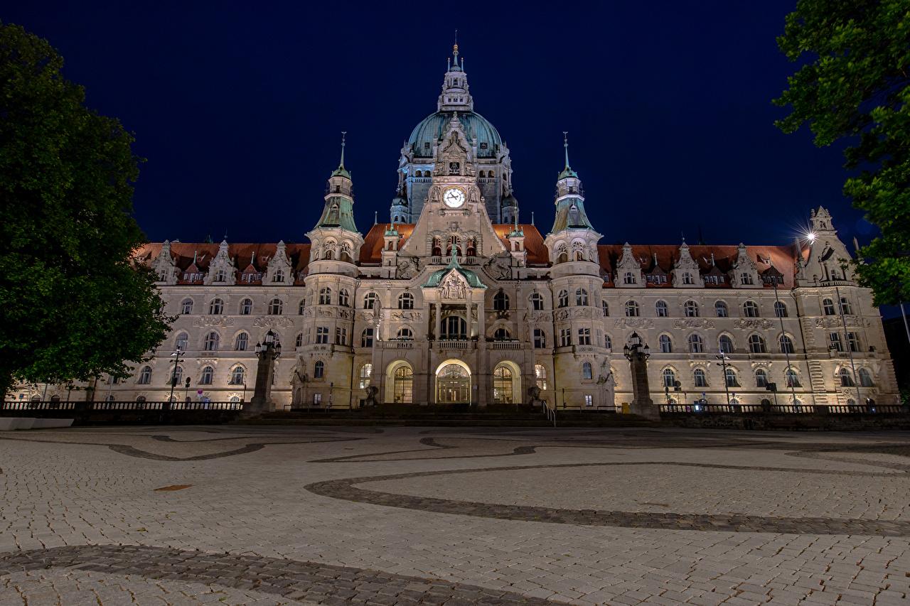 Desktop Hintergrundbilder Deutschland Hannover Neues Rathaus Nacht
