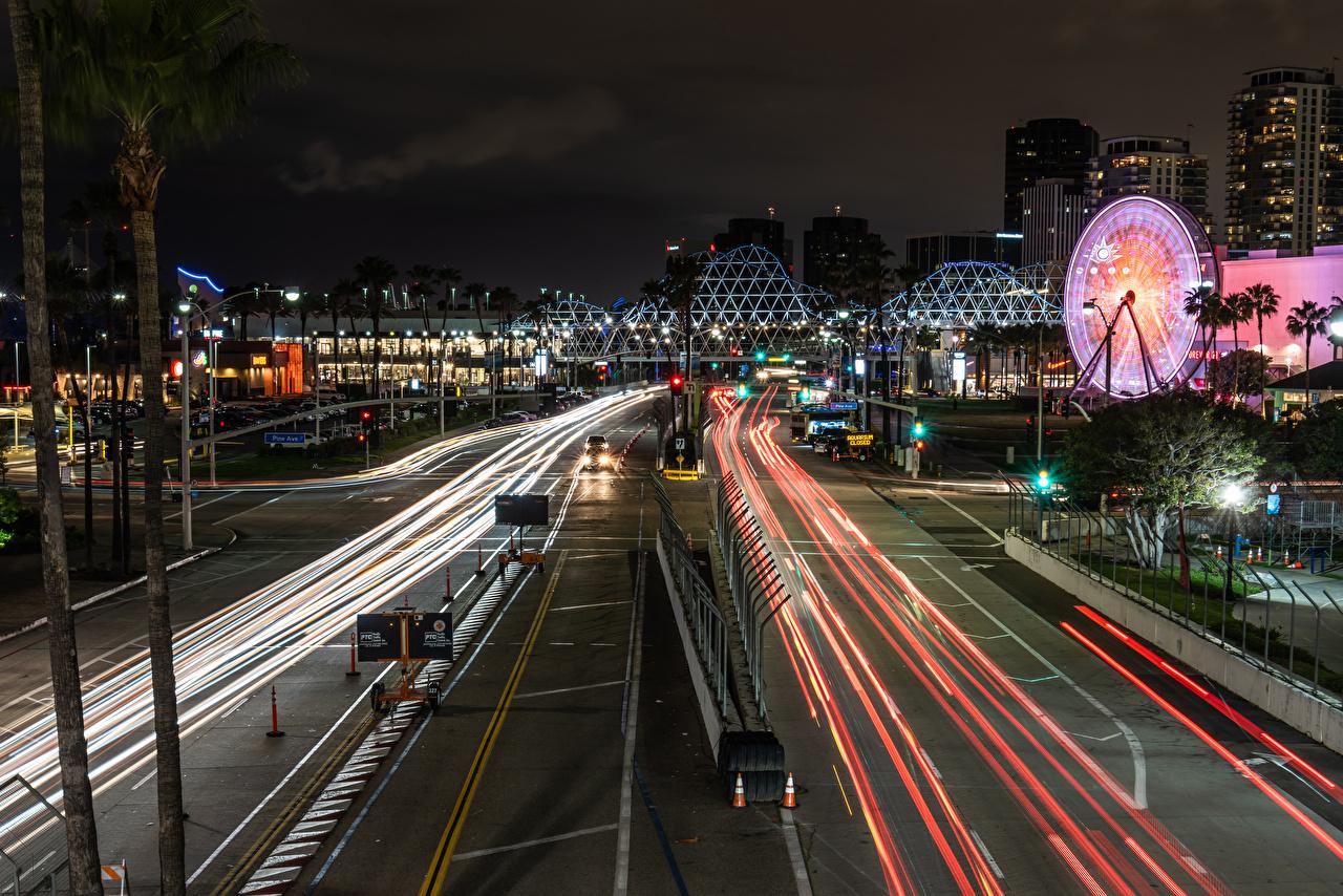 Bilder von Kalifornien Vereinigte Staaten Long Beach Wege Nacht Straßenlaterne Haus Städte USA Straße Gebäude