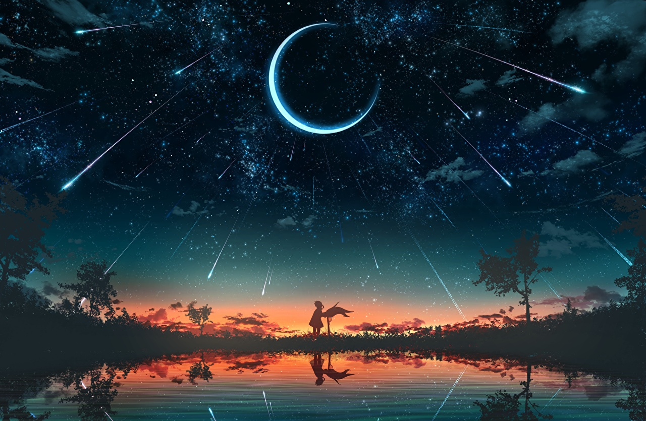 Pictures Stars Silhouette Fantasy Sky Lake sunrise and sunset Crescent silhouettes Sunrises and sunsets