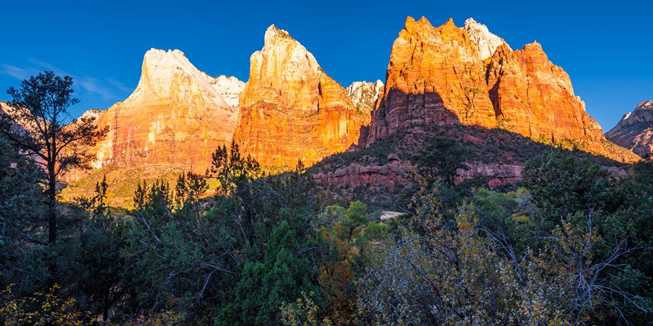 Desktop Wallpapers Zion National Park USA Utah Rock Autumn Nature mountain Parks Crag Cliff Mountains park