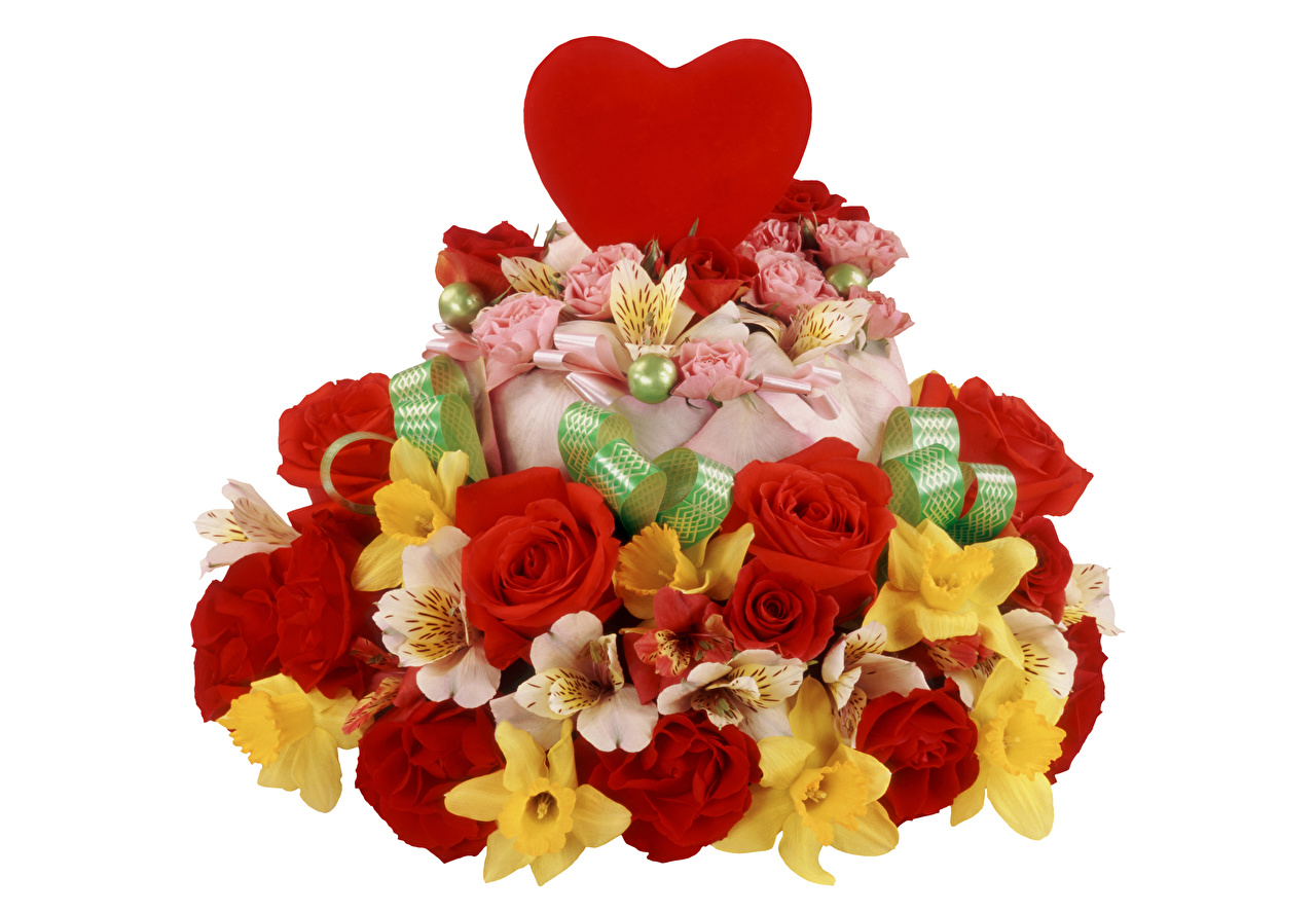 Pictures Valentine's Day Heart Torte Roses Flowers Daffodils Alstroemeria White background Cakes Narcissus