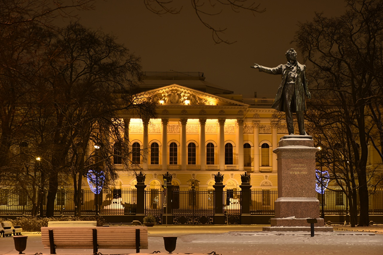 Pictures St. Petersburg Russia Museum Monuments Town square A.S.Pushkin, Arts Square, Russian museum Winter Snow Night Cities museums night time
