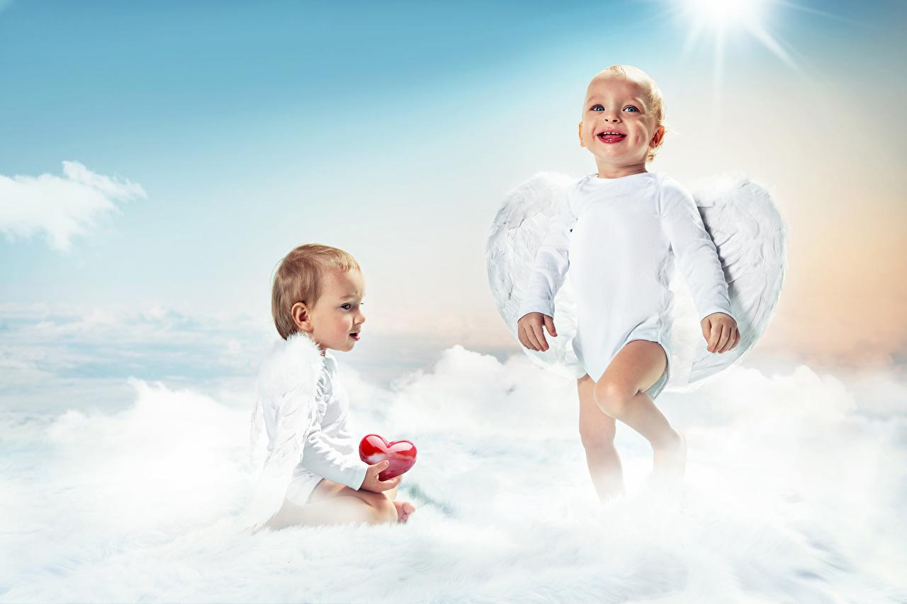 Wallpaper Baby Smile Heart Wings child 2 Angels Infants newborn Children Two angel