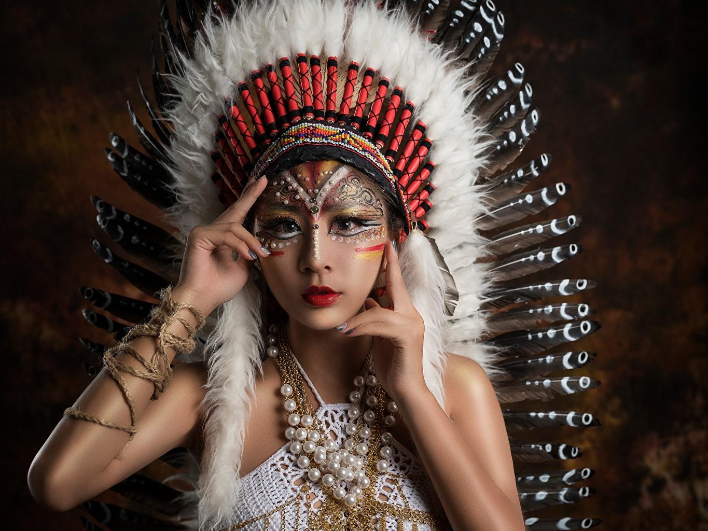 Wallpaper Indians Beautiful Warbonnets Female Asian
