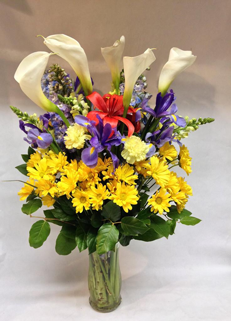 、ブーケ、菊、アヤメ属、ナデシコ、オランダカイウ、ユリ、花瓶、��ク属、花