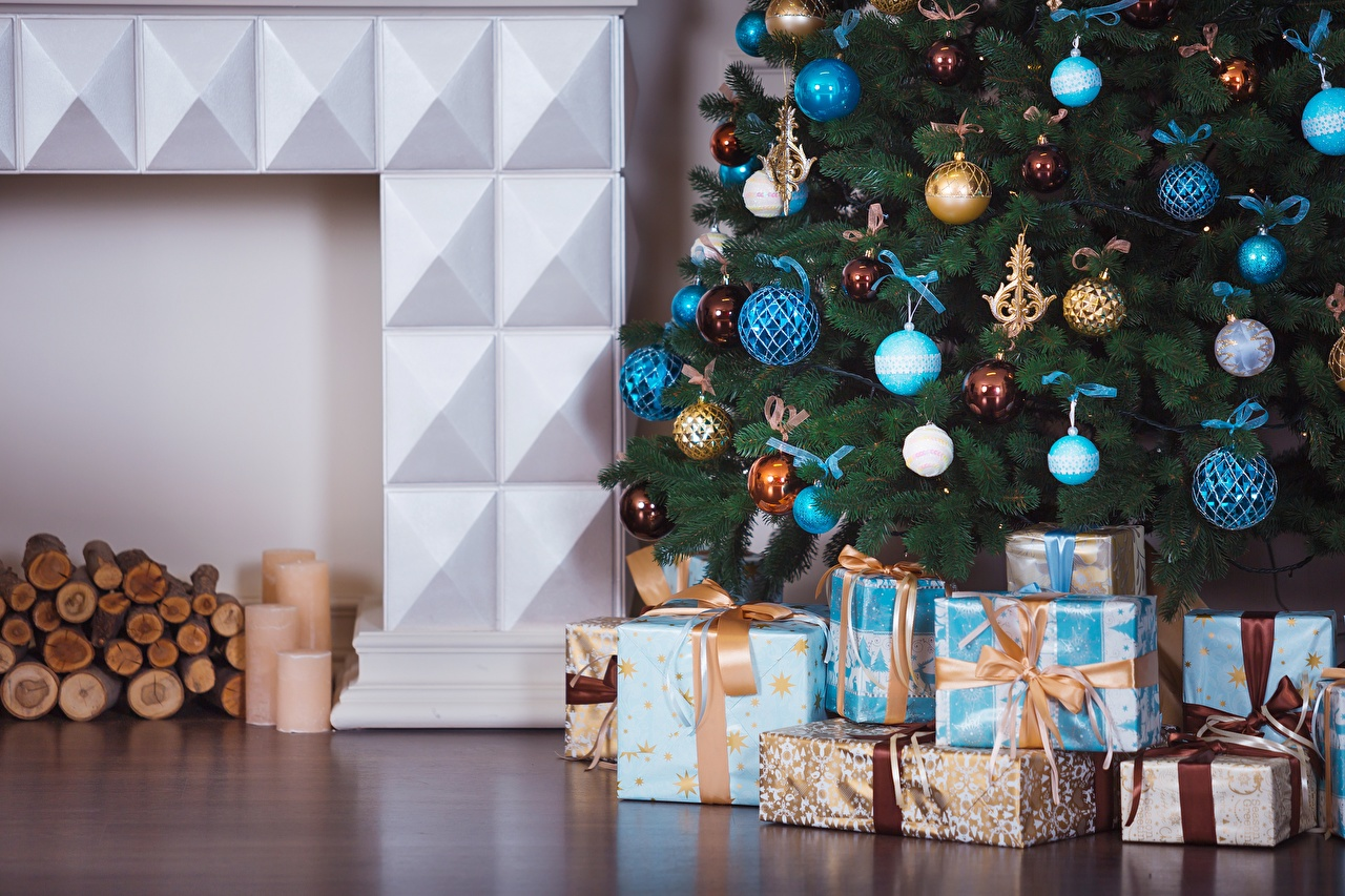 Photos New year Christmas tree Gifts Balls Christmas New Year tree present