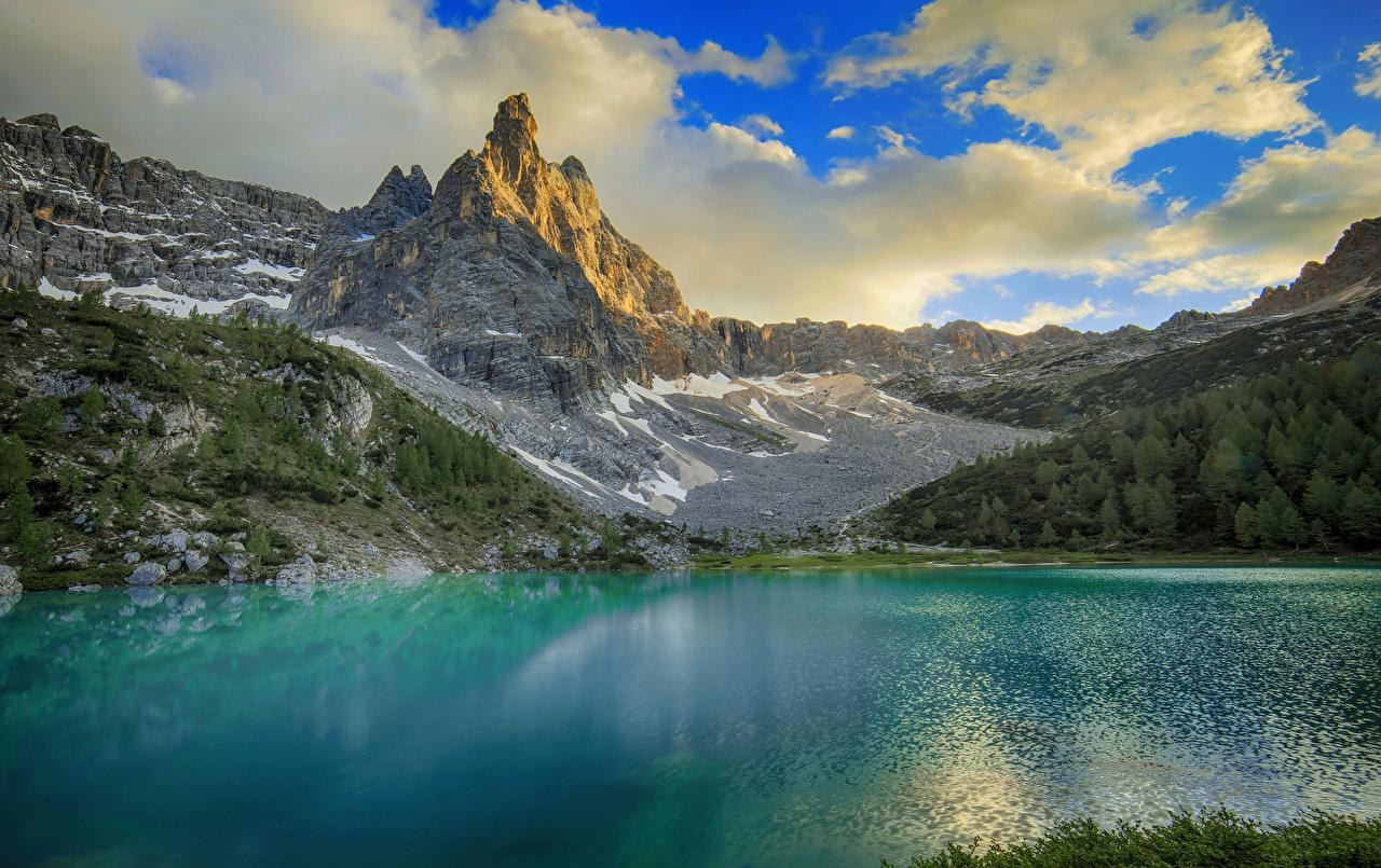 Desktop Hintergrundbilder Alpen Italien Dolomites Natur Gebirge See Wolke Berg