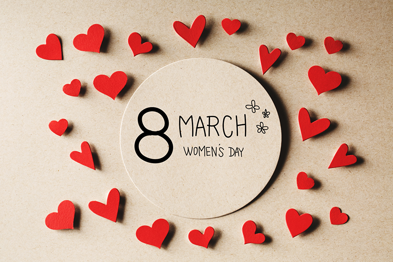 Picture International Women's Day English Heart Colored background March 8
