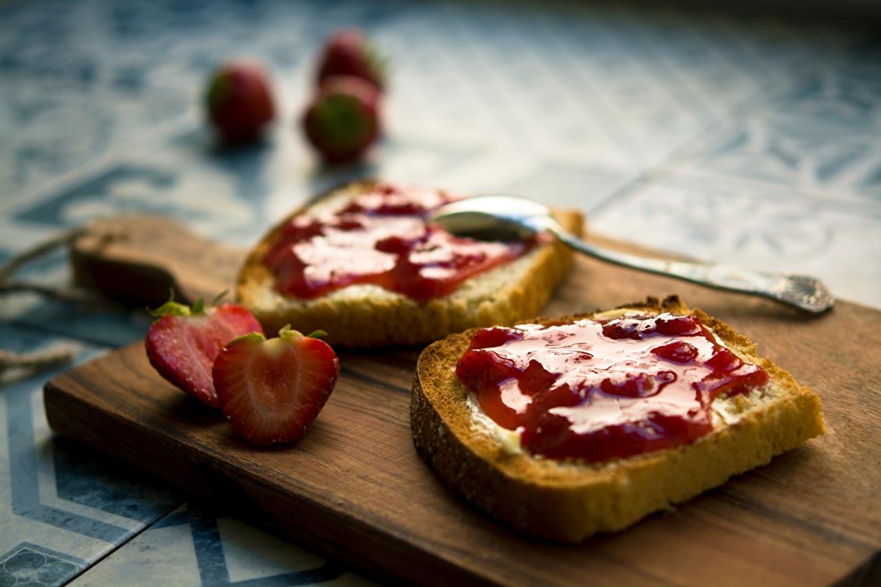 Desktop Wallpapers Varenye Bread Strawberry Food Spoon Cutting board Jam Fruit preserves
