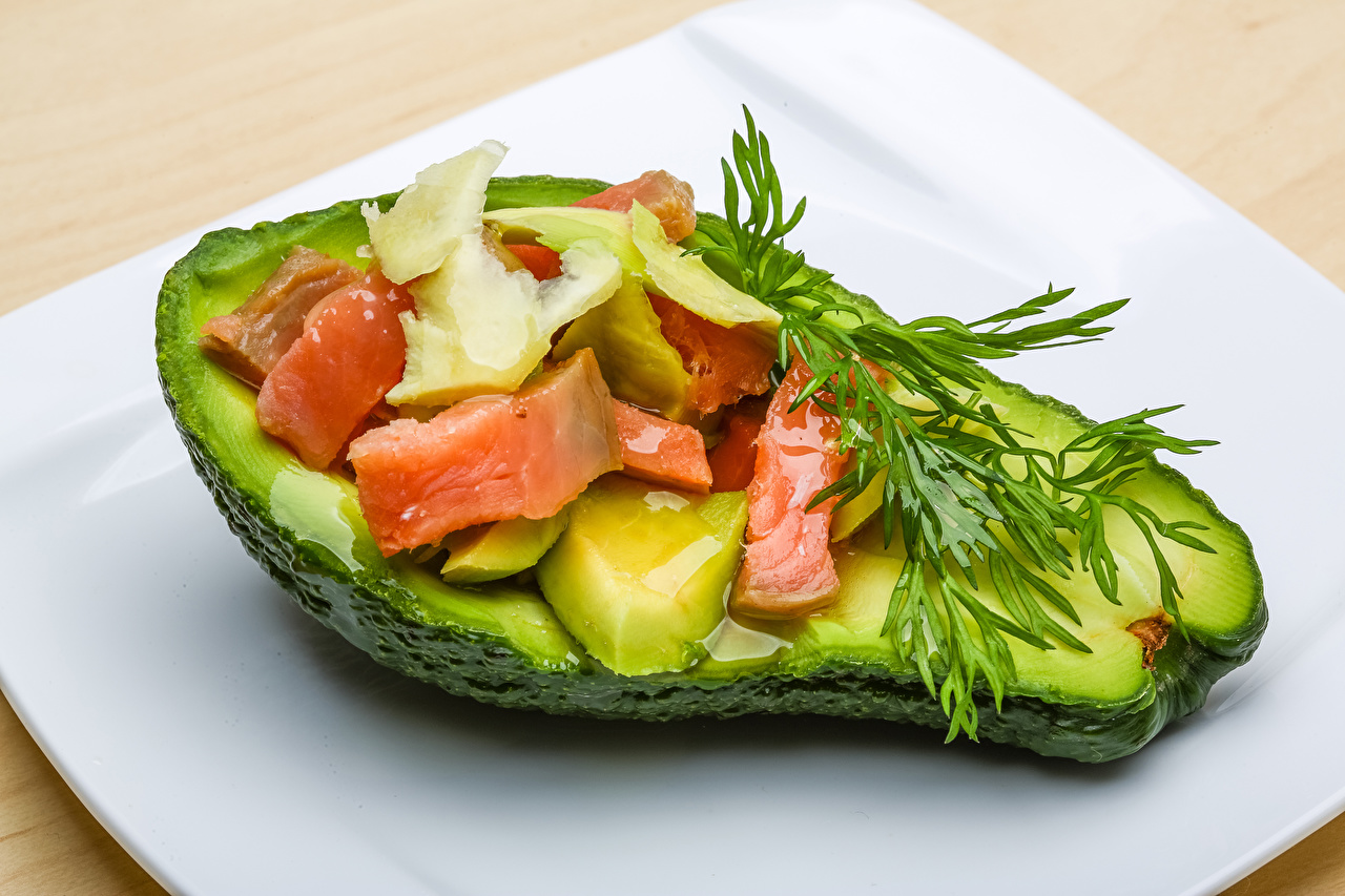 Wallpaper Dill Avocado Fish - Food Food
