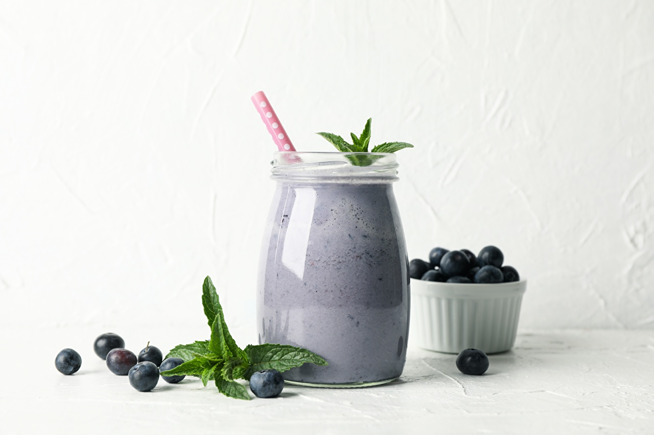 Pictures Smoothie Jar Mentha Blueberries Food Berry drink smoothy mint Drinks