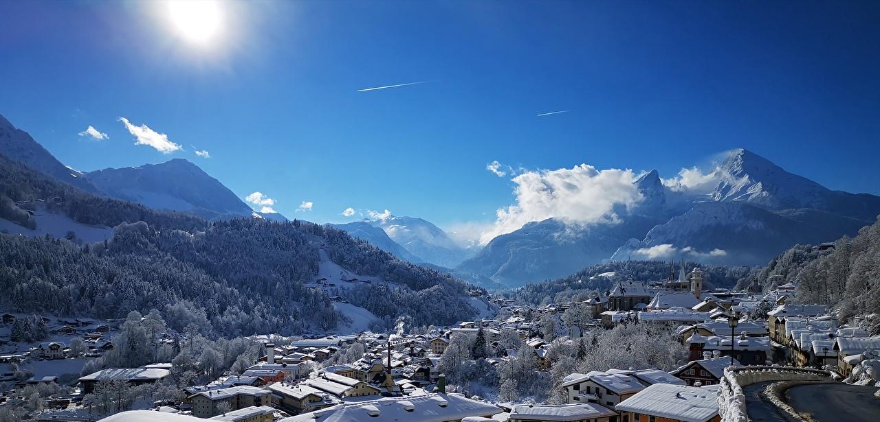 Bilder Deutschland Berchtesgaden Natur Winter Gebirge Schnee Haus Städte Gebäude