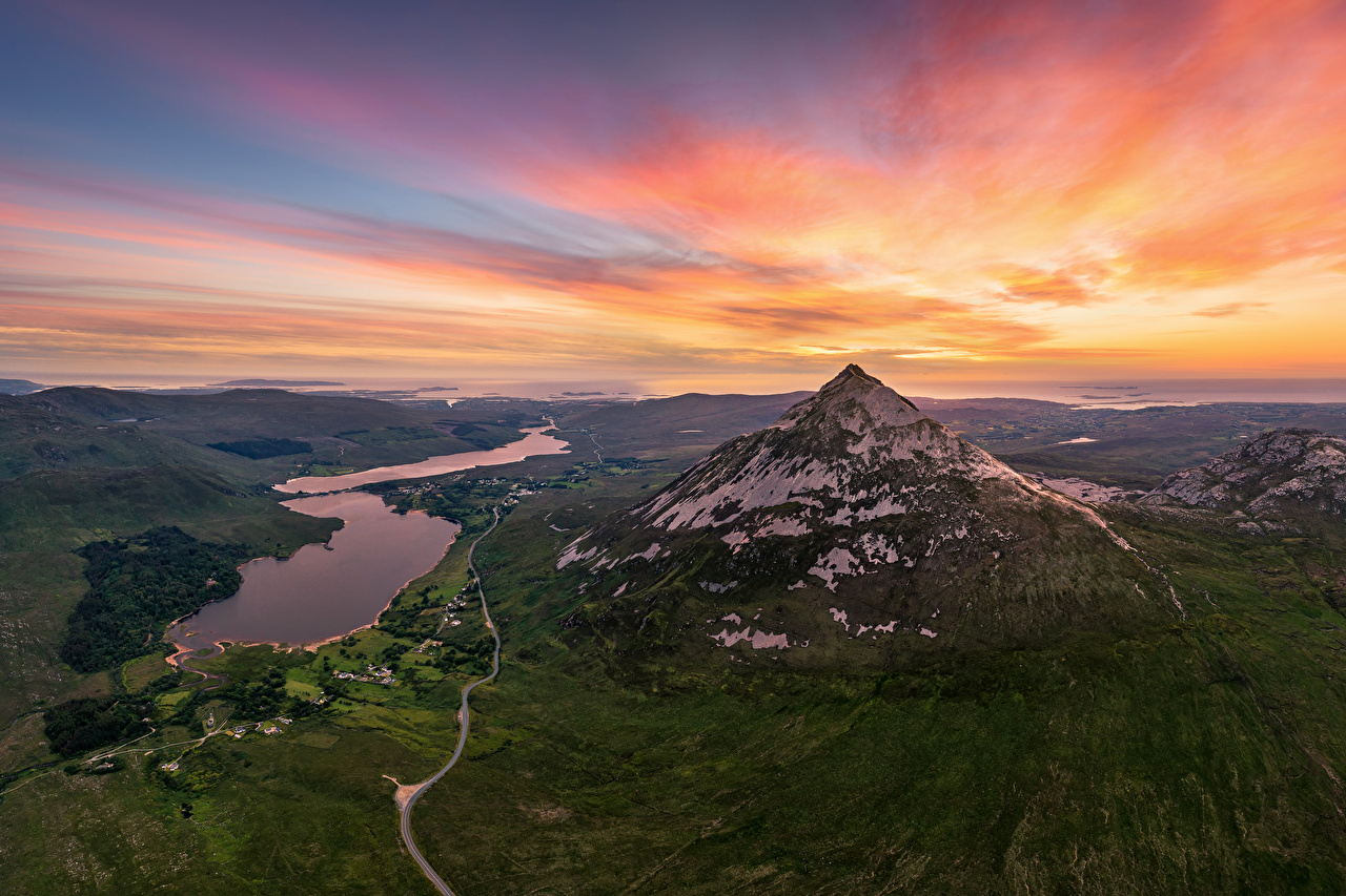 Photos Ireland Errigal Mountain Nature mountain Sky sunrise and sunset From above Mountains Sunrises and sunsets