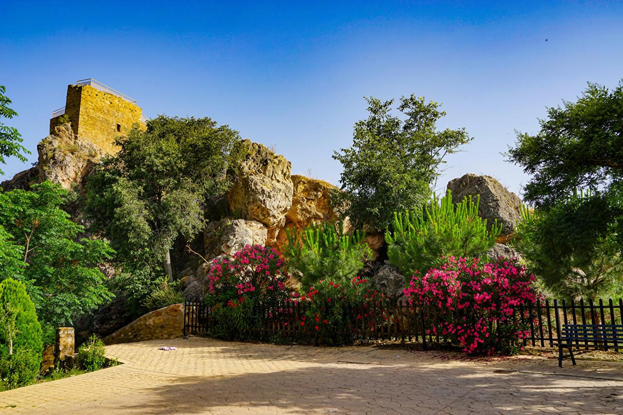 Desktop Hintergrundbilder Spanien Lanjaron Castle gardens Natur Fichten Zaun Garten Strauch