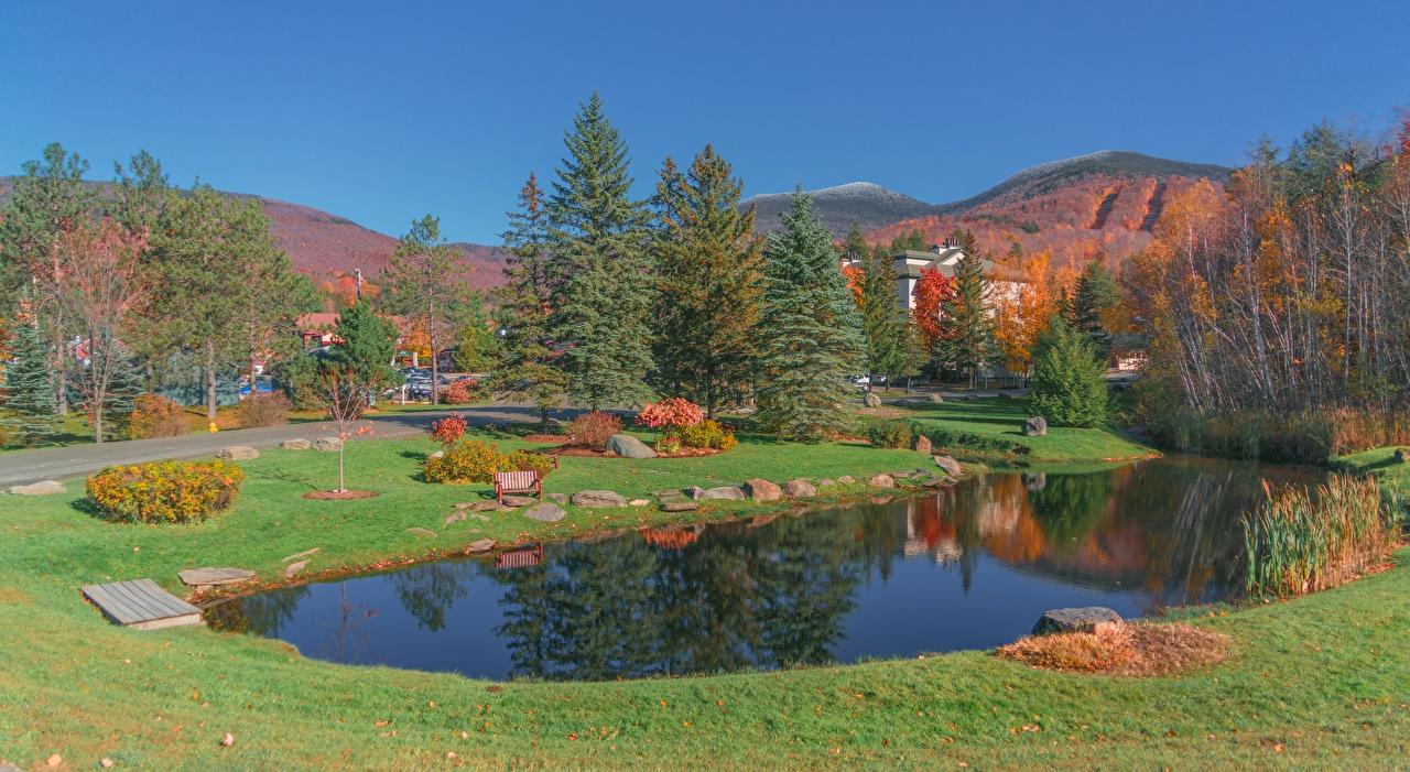 Wallpaper USA Vermont, New England, Montpelier Autumn Pond Parks Grass Stones Cities park stone