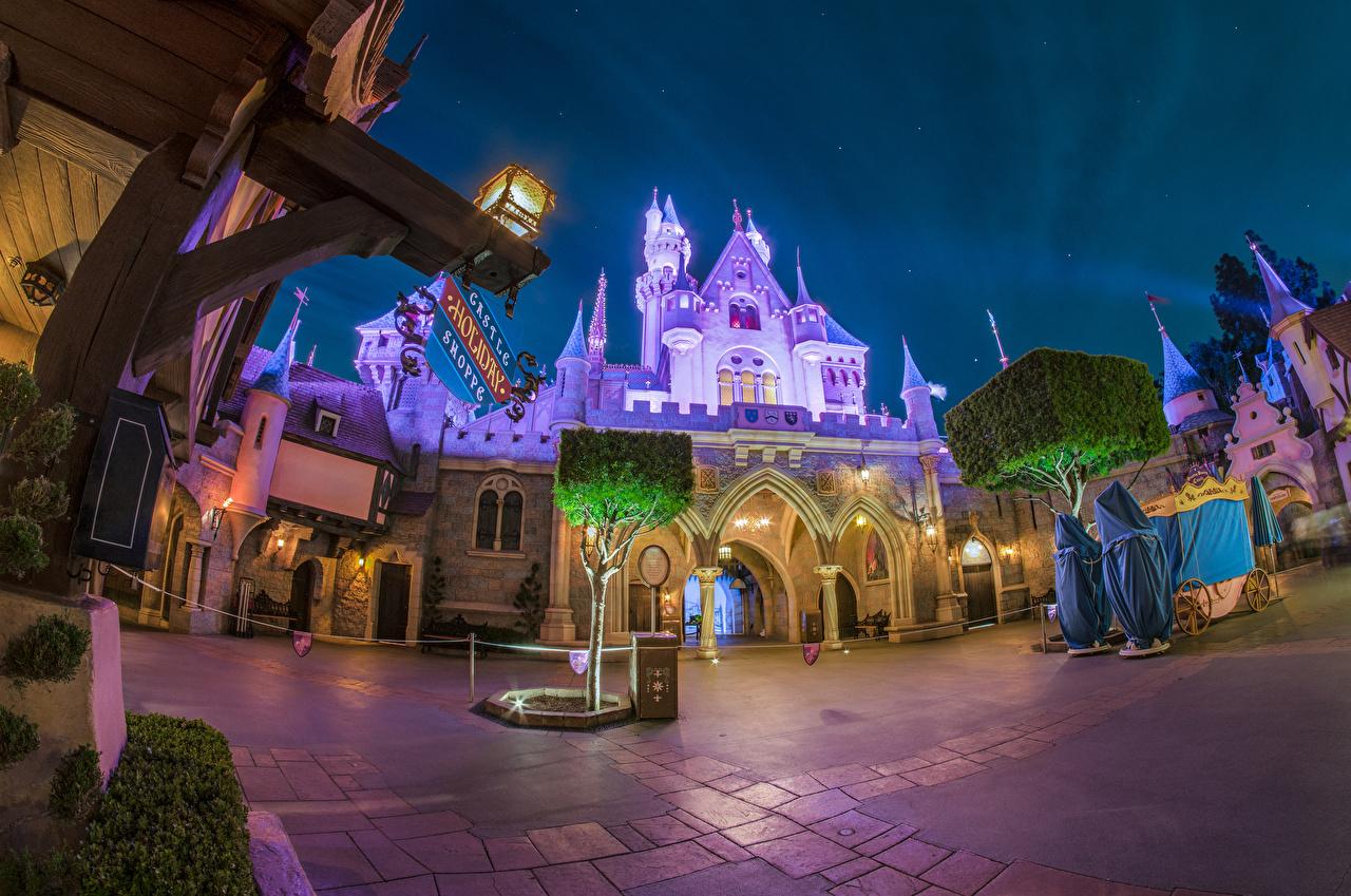Fotos Anaheim Kalifornien Disneyland USA Burg Park Nacht Straßenlaterne Städte Design Vereinigte Staaten