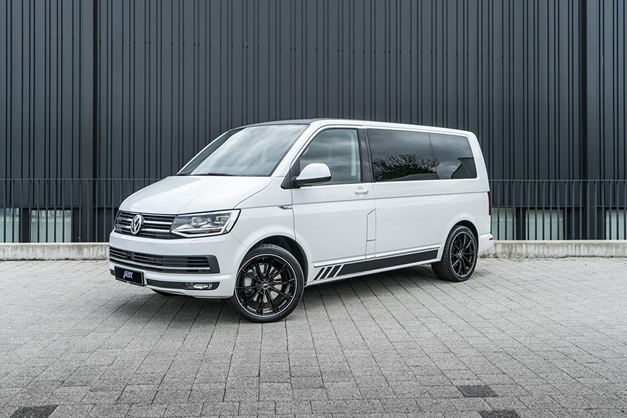 Foto Volkswagen 2018-20 ABT Multivan Ein Van Weiß Autos auto automobil