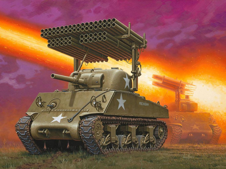 Photos military Tanks sherman M4A3 Painting Art M4 Sherman