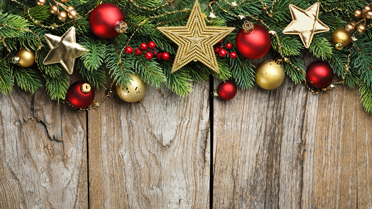 Desktop Wallpapers New year Star decoration Balls Branches