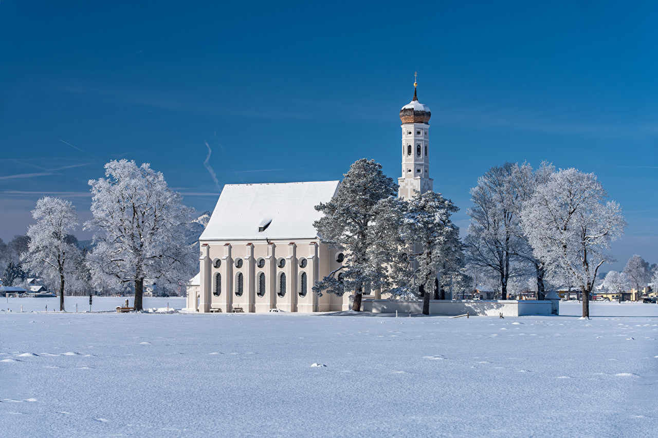 Wallpaper Church Bavaria Germany Winter Nature Snow