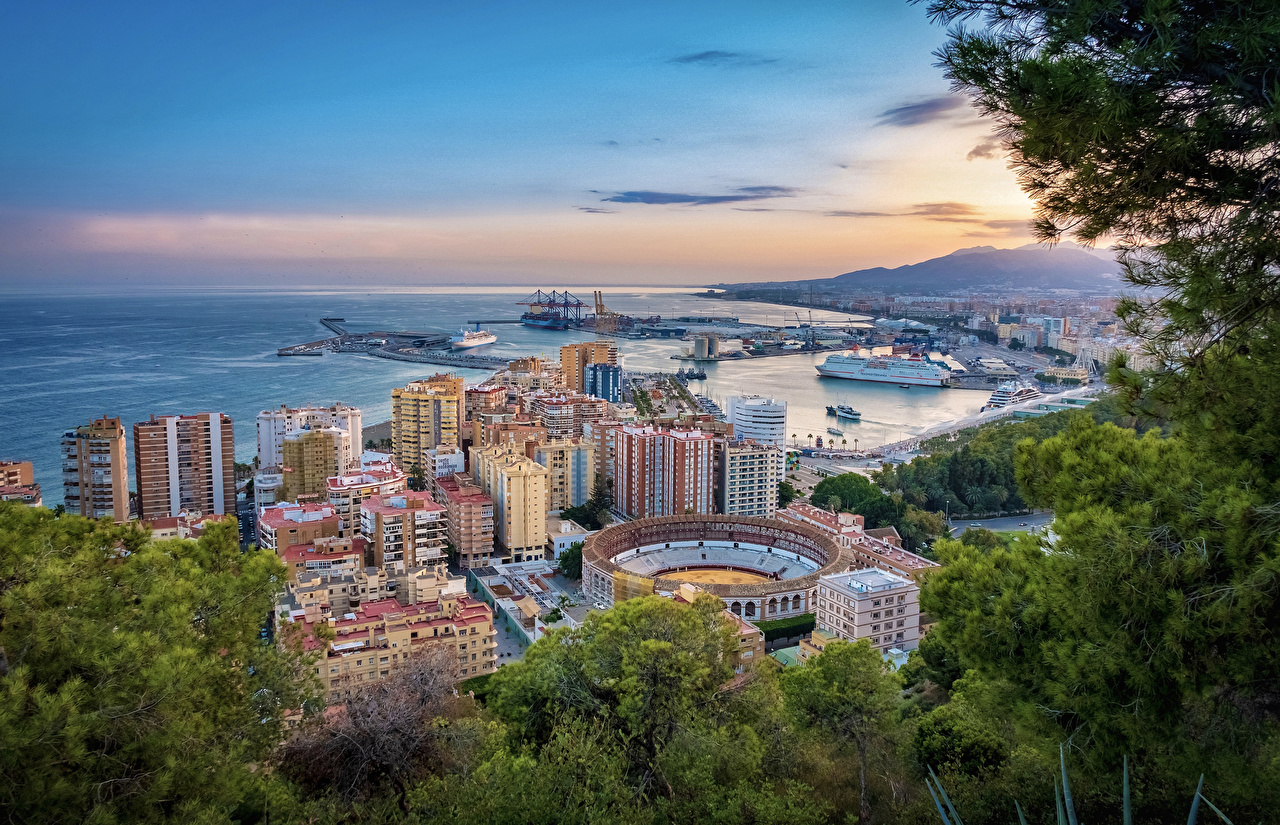 Photo Spain Malaga Marinas Branches Cities Houses Pier Berth Building