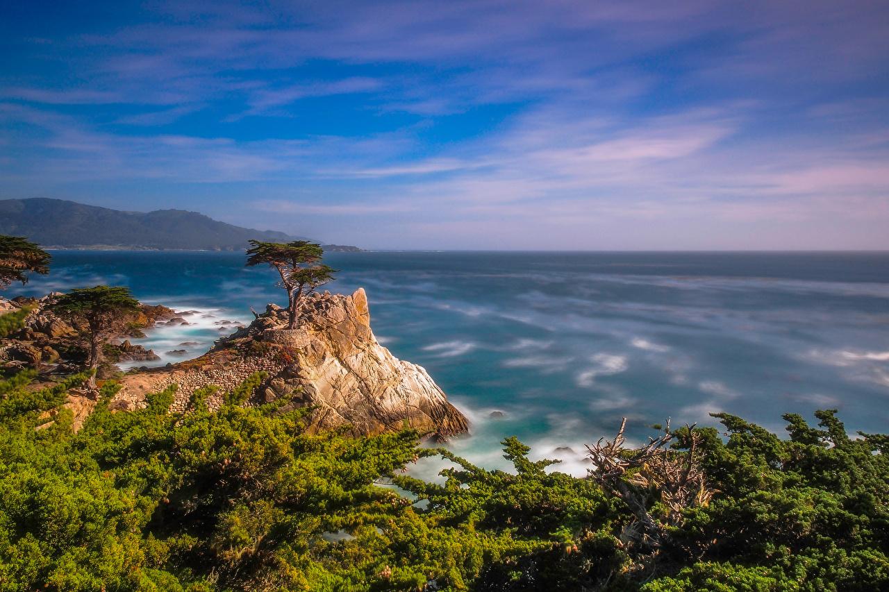 Photos California USA Pebble Beach Rock Ocean Nature Coast Crag Cliff