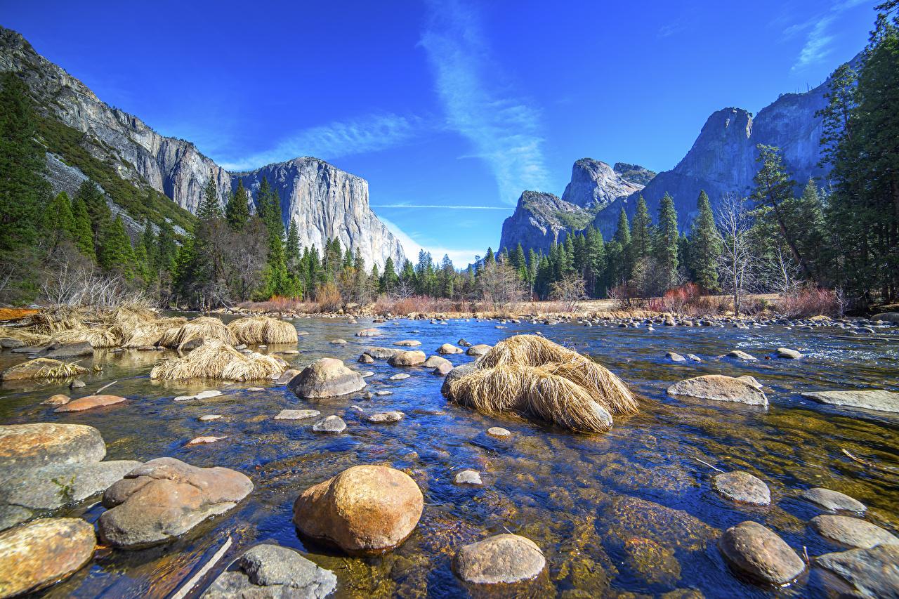 Image Yosemite California USA Nature mountain Parks forest landscape photography river stone Mountains park Forests Scenery Rivers Stones