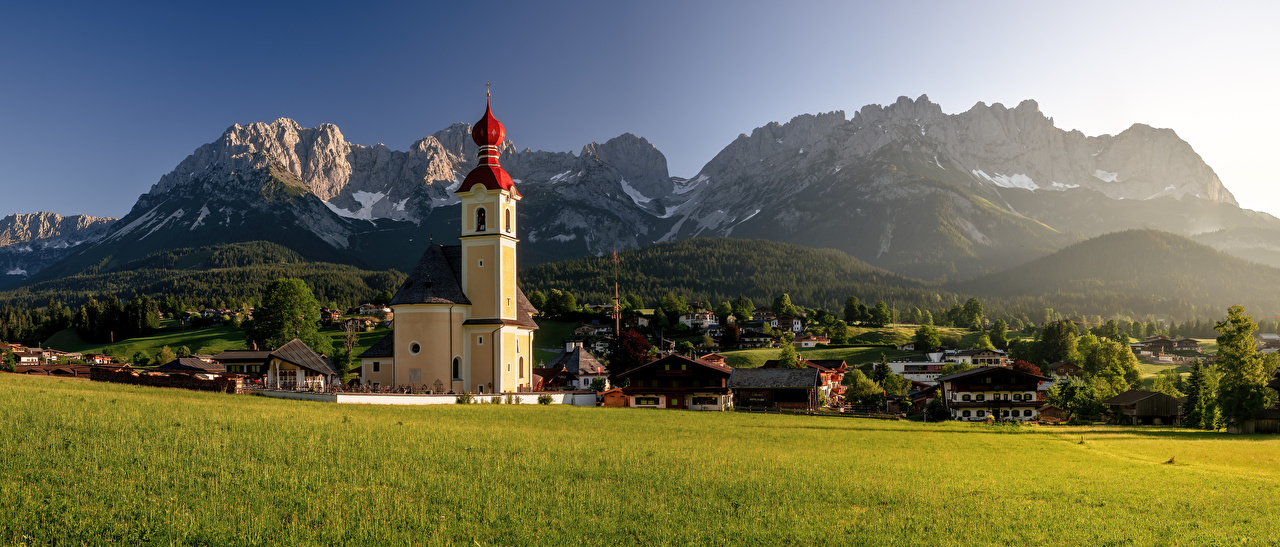 Wallpaper Nature Church Austria Panorama Wilder Kaiser Alps Mountains Scenery Building panoramic mountain landscape photography Houses