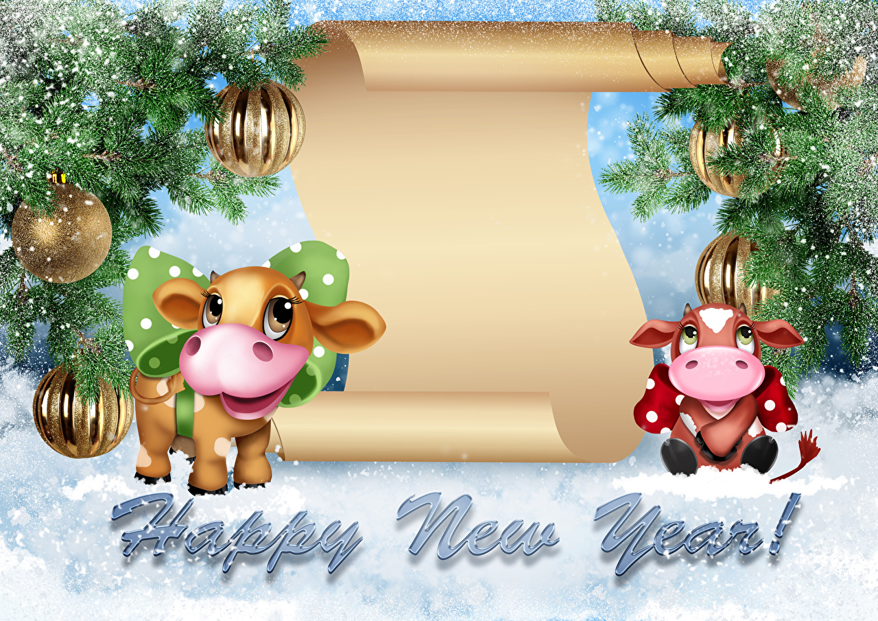 Pictures Bulls New year English Snow lettering Balls Branches bull Christmas text Word - Lettering
