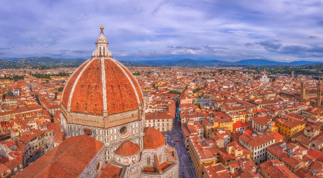 Pictures Florence Italy La Cattedrale di Santa Maria del Fiore Dome From above Cities Building domes Houses