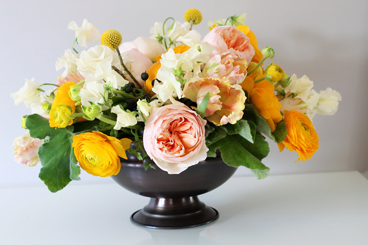 Picture Bouquet Rose Tulips Flowers Ranunculus Vase
