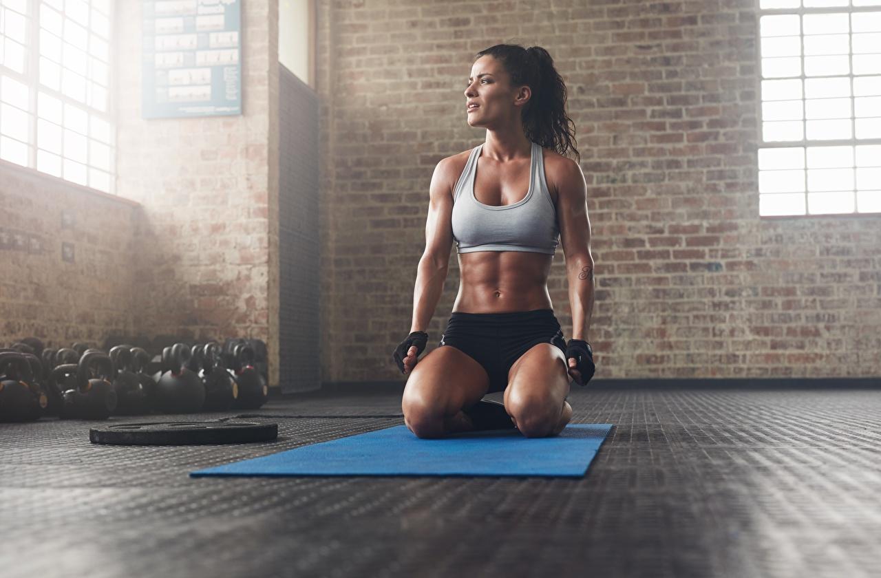 Bilder von Höschen Turnhalle Handschuh Pose Fitness sportliches junge Frauen Unterhemd sitzen Fitnessstudio posiert Sport Mädchens junge frau sitzt Sitzend