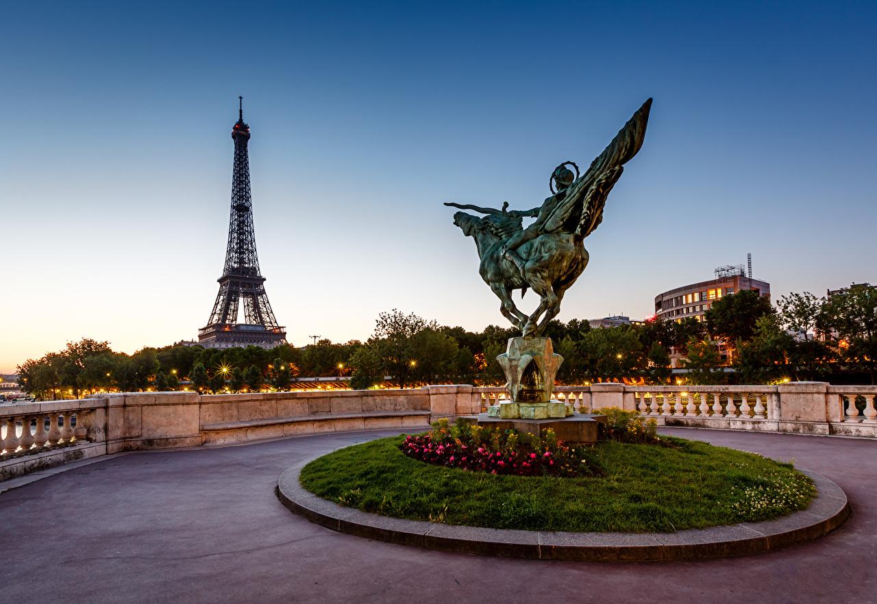 壁紙 フランス France Reborn Statue Bir Hakeim Bridge Eiffel