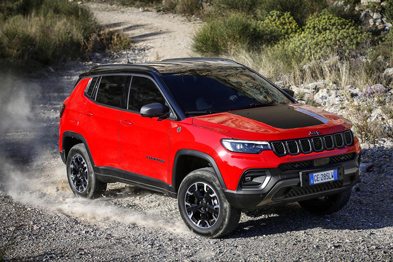 Фото Джип Кроссовер 2021 Compass Trailhawk 4xe Красный машина Металлик Jeep CUV красная красные красных авто машины Автомобили автомобиль