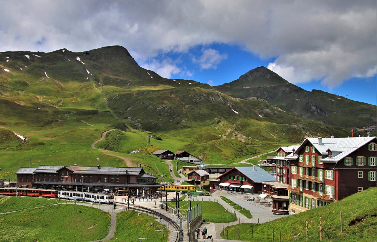 、スイス、山、鉄道、列車、Jungfrau、アルプス山脈、自然、