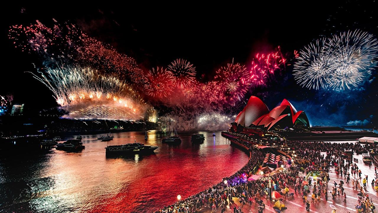 Wallpaper Sydney Fireworks Australia Opera House Night Waterfront Cities night time