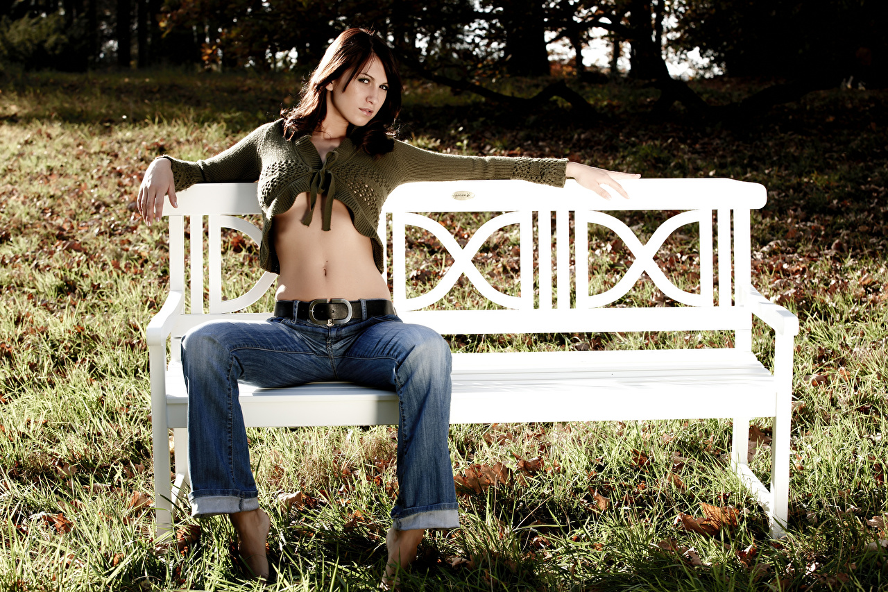 Wallpaper Brunette girl Girls Legs Jeans Grass Bench Belly Sitting female young woman sit