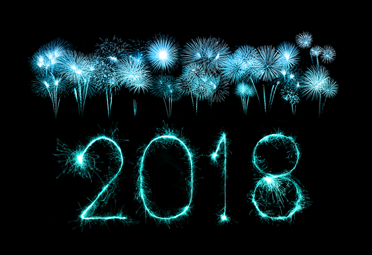 Wallpaper 2018 Fireworks Christmas Black background New year